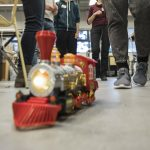 A toy train that has been adapted for switch control.