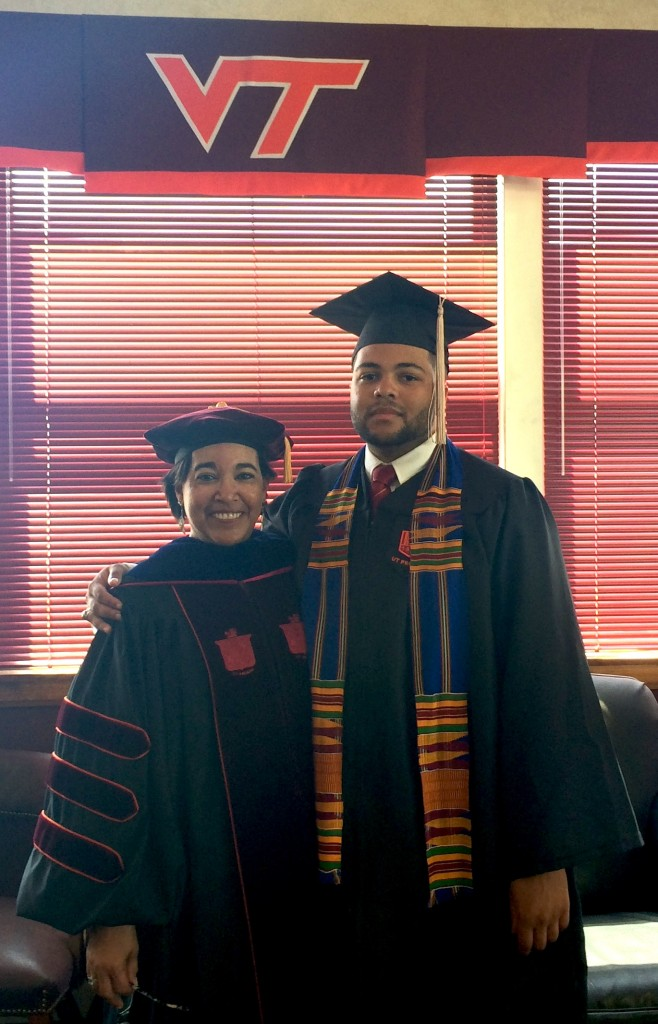 photo of Bev Watford with her son at his graduation