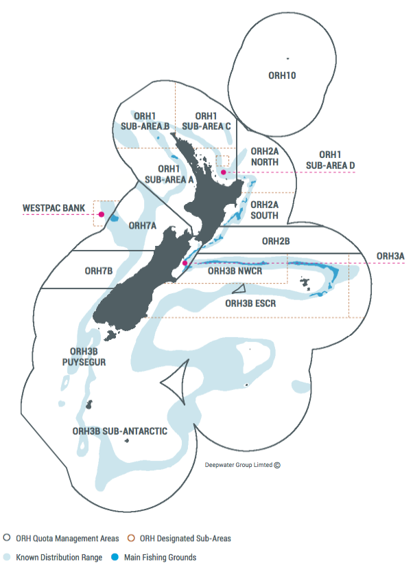 Figure 1: Orange roughy fisheries in the New Zealand Exclusive Economic Zone. The largest fishery is East and South Chatham Rise (ESCR) part of Quota Management Area (QMA) ORH3B. The Challenger fishery is ORH7A and the Westpac Bank (which is outside the EEZ). The Mid-East coast fishery covers ORH2A south, ORH2B, and ORH3A. (Figure courtesy of Deepwater Group Ltd.)