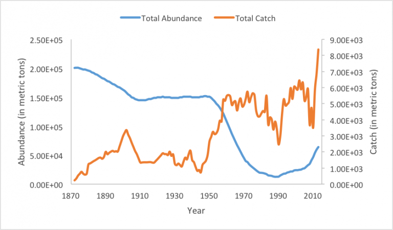 Figure 1. Total abundance and catch (in metric tons) of Gulf of Mexico red snapper from 1872 to 2013. Data from NMFS stock assessment database.