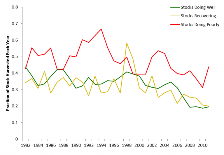 Figure 9. Average harvest ratio (total catch/total biomass) from 1982-2011 for the 3 different categories of cod stocks addressed in this feature. The red line depicts the average harvest ratio of the stocks that are doing poorly (Celtic Sea, Gulf of Maine, Georges Bank), the yellow line depicts the average harvest ratio of the stock that is low but recovering (North Sea), and green line depicts the average harvest ratio of the stocks that are doing well (Barents Sea, shelves of Iceland).