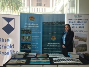 Saori with WHO Climate and Health display