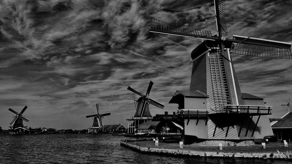 A photo of windmills in the Netherlands