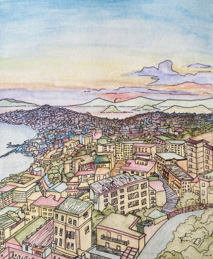 color and ink illustration of sunset in Naples, Italy