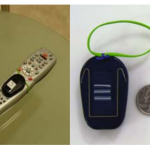Left: FETCH tag attached to a TV remote; Right: FETCH tag with raised lines indicating the ID number