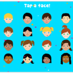 Main menu of Incloodle where kids can tap a face to get a photo prompt