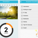 Screen shots of SmartQuit showing urges passed button and Anytime Coaching