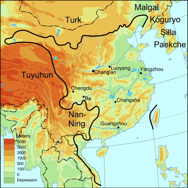 A map of Sui dynasty China, showing the surrounding kingdoms and peoples.