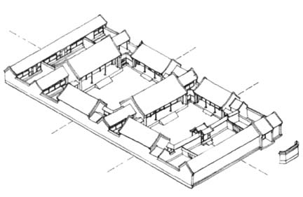 House architecture for Multi family house plans with courtyard