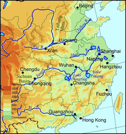 Why do most of the rivers in China flow from the west to the east?