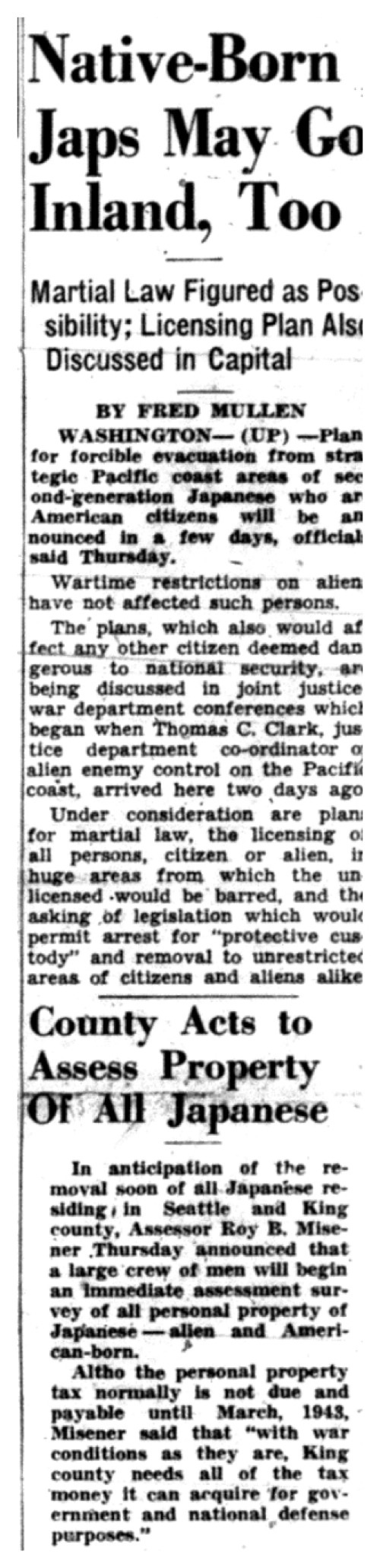 seattle star a 18 1942 article announcing that ese american citizens along alien ese will be evacauated to internment camps