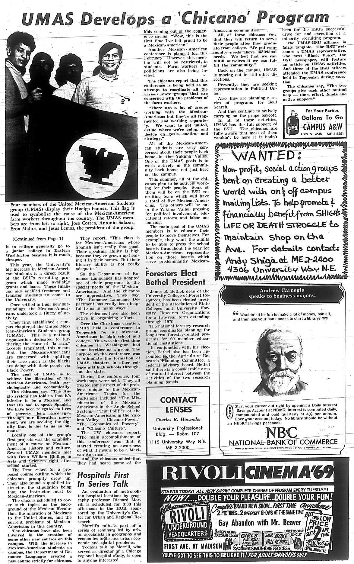 chicano movement above the uw daily announces the formation of united mexican american students umas 28 1969