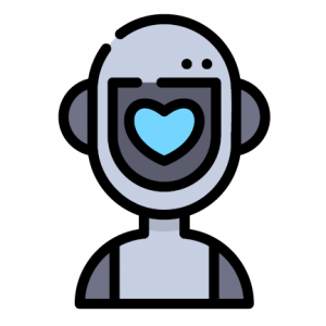 Robot logo with heart for face