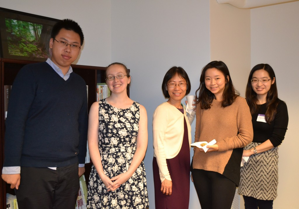 Pictured from left to right:  Yufeng (Peter) Chu, project student worker; Emily Jantz, project cataloging specialist and administrative coordinator; Charlene Chou, project technical manager; Min-Yu (Erica) Ho, project student worker; Yingying Sun, PhD student in Asian L&L Department.