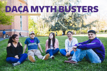 "5 students sitting on the grass with title ""DACA Myth Busters"""