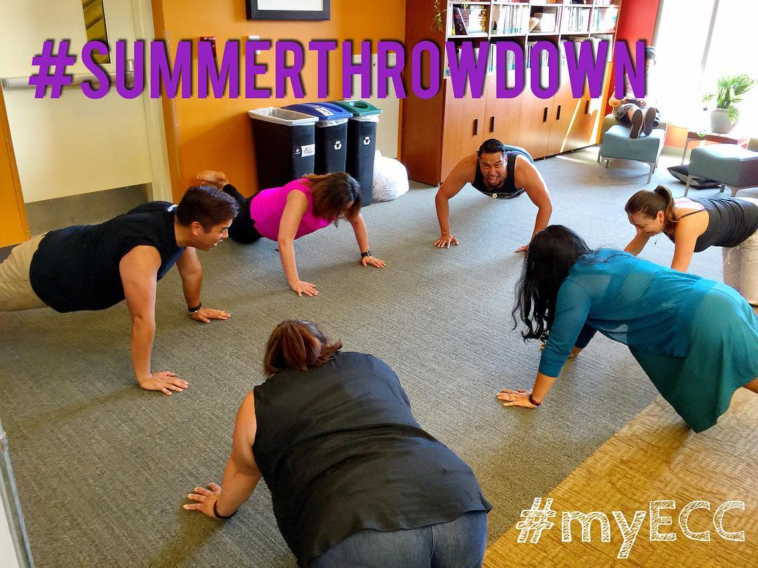 Working on our fitness... Keeping each other accountable for @wholeu #summerthrowdown challenge! #UW #myECC