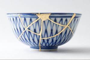 cup depicting a Japanese ceramic technique, Kintsugi