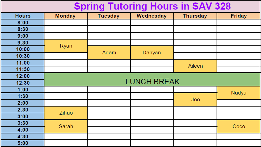 Spring Tutoring hours