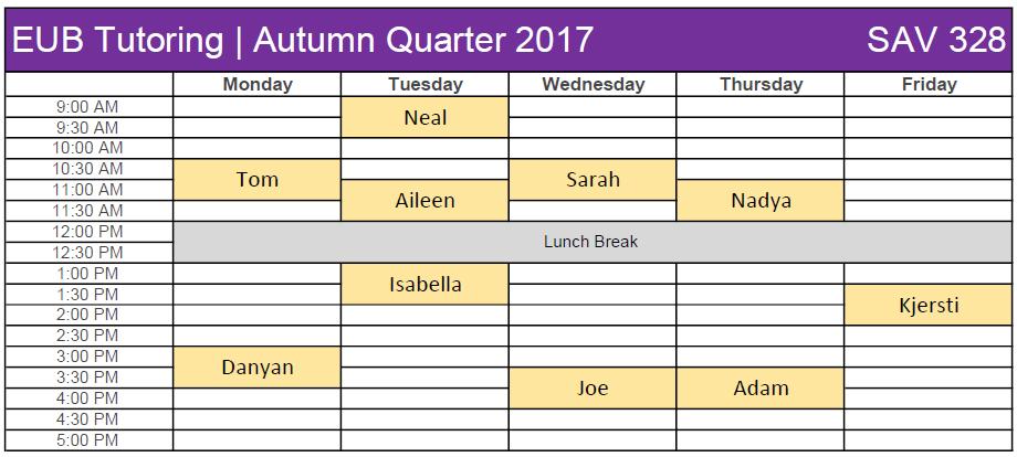 EUB Tutoring_Autumn 2017