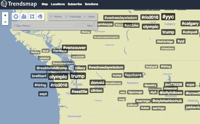 An image of a map of the Pacific Northwest overlaid with trending hashtags based on location.