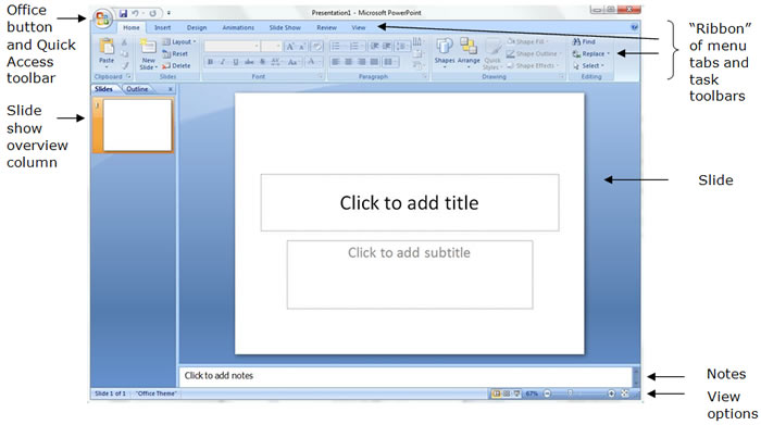 Screen Shot of PowerPoint Workspace