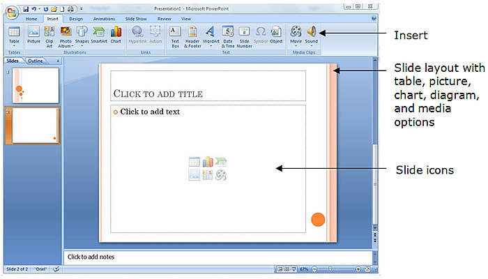 Screen Shot of PowerPoint Text and Content Layout Workspace