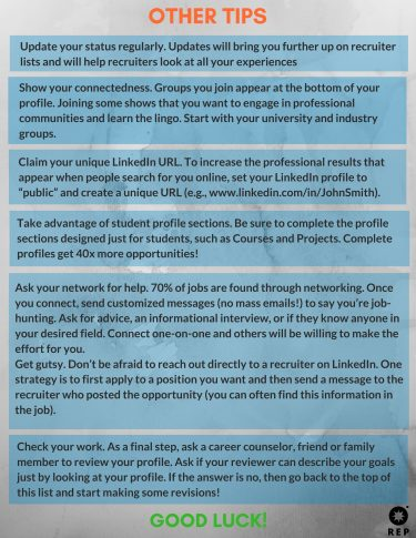 LinkedIn Handout - General Tips