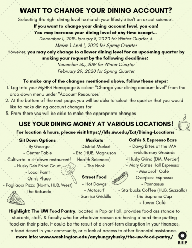 How to change your dining account