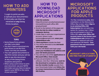How to add printers and download Microsoft Office Applications