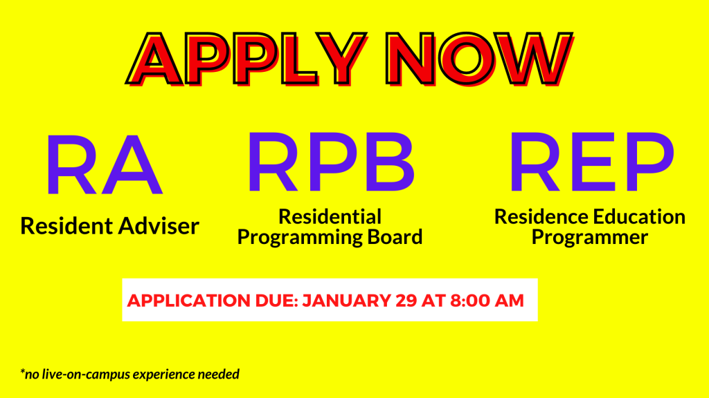 Apply now to be an RA, REP, or RPB Member!