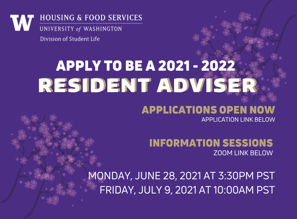 Apply to be a Resident Adviser for 2021-2022!