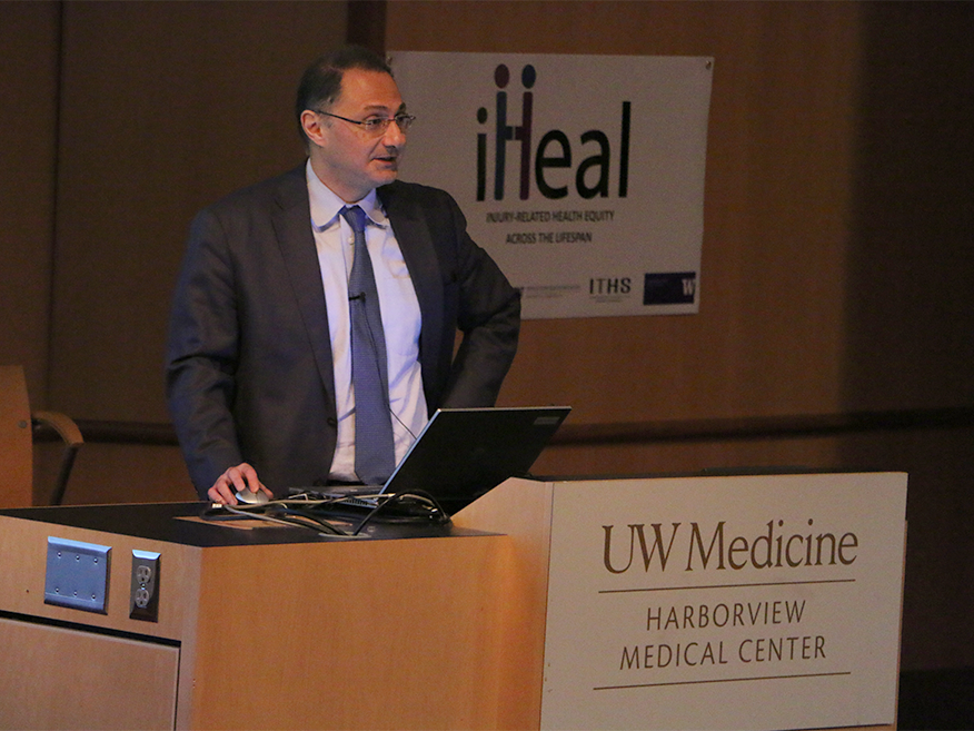 Saman Arbabi, M.D., discusses health equity in trauma at the 2017 iHeal Symposium at Harborview Medical Center.