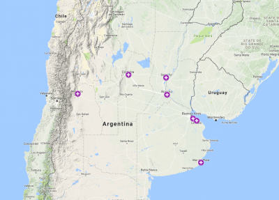 Map of northern Argentina noting clinic locations.