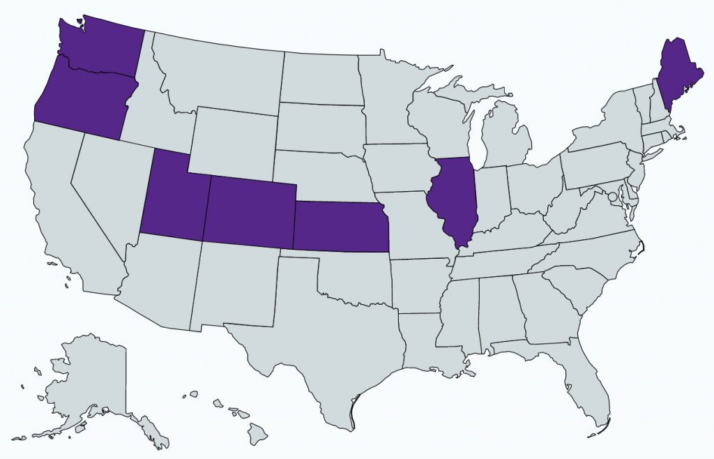 A map of the United States, with the following states highlighted in purple: Washington, Oregon, Utah, Colorado, Illinois, Kansas and Maine.