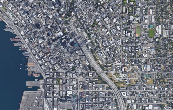 A satellite view of downtown Seattle.