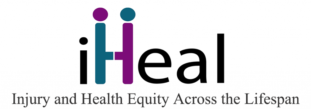 "The iHeal logo and the phrase ""Injury and Health Equity Across the Lifespan."""