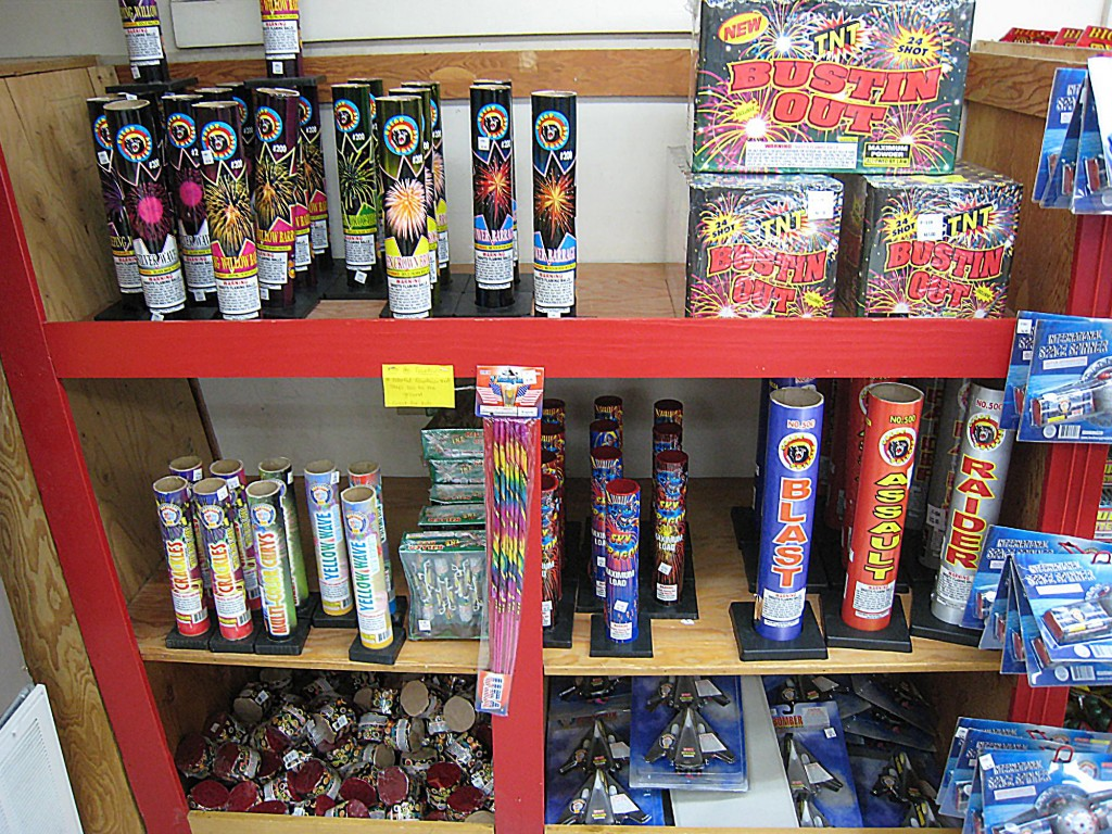 Shells and mortars on display on a store shelf.