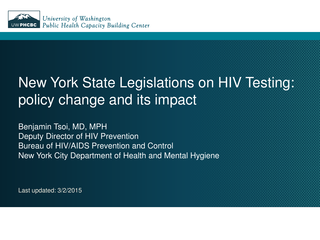 New York State Legislations on HIV Testing
