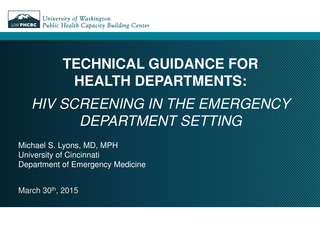 HIV Screening in the Emergency Department Setting