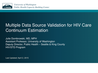 Multiple Data Source Validation for HIV Care Continuum Estimation