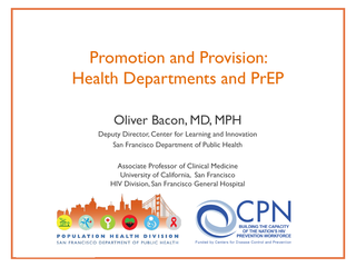 Promotion and Provision: Health Departments and PrEP