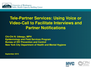 Tele-Partner Services - Using Voice or Video-Call to Facilitate Interviews and Partner Notifications