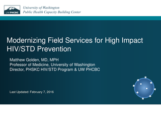 Modernizing Field Services for High Impact HIV/STD Prevention