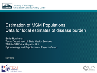 Estimation of MSM Populations: Data for local estimates of disease burden