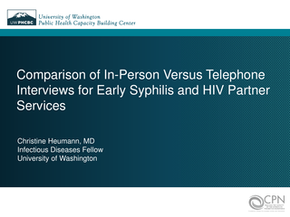 Comparison of In-Person Versus Telephone Interviews for Early Syphilis and HIV Partner Services