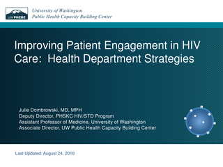 Improving Patient Engagement in HIV Care:  Health Department Strategies