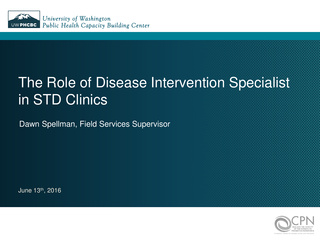 The Role of Disease Intervention Specialist in STD Clinics