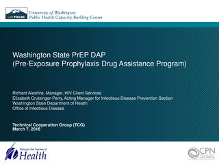 Washington State PrEP DAP (Pre-Exposure Prophylaxis Drug Assistance Program)