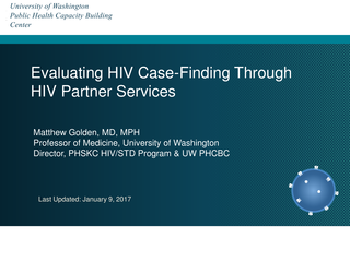 Evaluating HIV Case-Finding Through HIV Partner Services