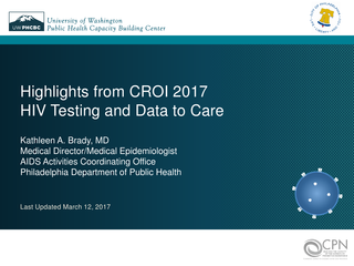Highlights from CROI 2017 HIV Testing and Data to Care